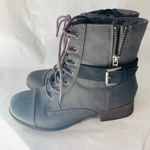 Maurices Bethany Zip Lace Up Buckle Low Heel Boots